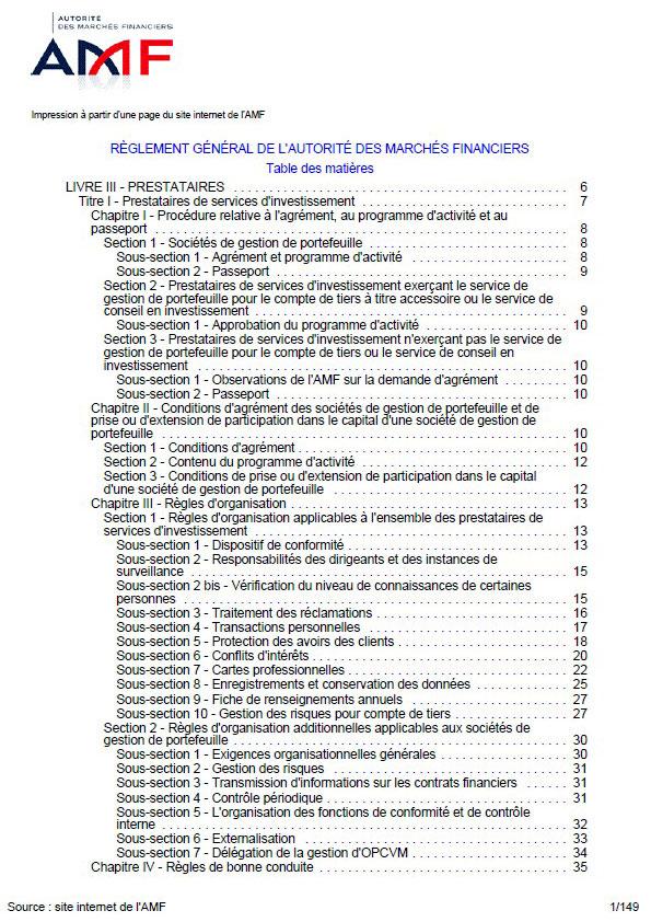Réglement général de l'autorité des marchés financiers AMF